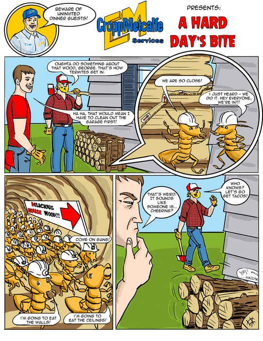 signs of termite damage comic
